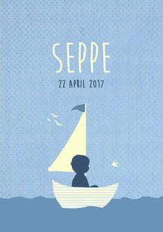 Geboortekaartje Seppe - Pimpelpluis - https://www.facebook.com/pages/Pimpelpluis/188675421305550?ref=hl (# jongen - boot - bootje - zeilboot - zee - water - vogels - vrolijk - retro - vintage - silhouet - lief - origineel)