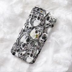 Skully Skull Burial Ground Fractal iPhone 6, Barely There Case by Wraithe Designs.