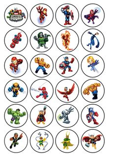 24 icing cake toppers decorations Avengers marvel super hero heros