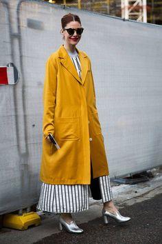 BIG mustard coat + stripes look at London Fashion Week
