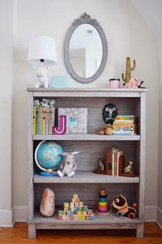 Sneak Peek at Pearl's Nursery - Bookshelf Decor Girls Bookshelf, Grey Bookshelves, Kids Room Bookshelves, Nursery Bookshelf, Nursery Storage, Baby Boy Nursery Themes, Baby Boy Rooms, Nursery Ideas, Bedroom Ideas