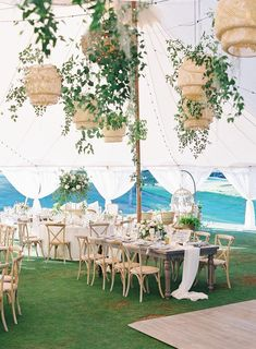 La Tavola Fine Linen Rental: Tuscany White and Aurora Ivory Table Runner with Tuscany Ocean Napkins | Photography: Carlie Statsky and Michelle Beckwith Photography, Planning & Design: E Events Co, Florals: Seascape Flowers, Venue: Carmel Valley Ranch, Rentals: Chic Event Rentals and Revival Vintage Rentals, Tent: Zephyr Tents, Lighting: Got Light
