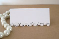 White doily lace place cards