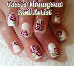 Peacock nail art gel mani by cassiethompsonnailartist of hand painted bridal purple roses over pearl gel mani by ctnailartist on instagram purple rosesvancouvernail artistpearlsbridalhand prinsesfo Image collections