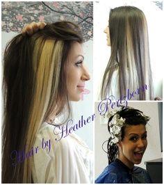 Brown Hair with Platinum Highlights | Long dark brown hair, light blonde peek a boo highlight chunks.