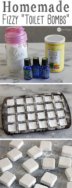 Keep your toilet looking clean and smelling fresh in-between cleanings with these homemade fizzy bombs!