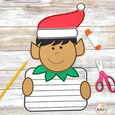 This elf craft and writing activity is so much fun to use as a follow up lesson after reading your favorite Christmas books. This craft is best suited for students in Kindergarten, First or Second grades. Children can respond in writing to any topic such as one that coincides with the story. Kindergarten Crafts, Kindergarten Classroom, Classroom Activities, Writing Paper, In Writing, First Grade Crafts, Name Crafts, Girl Elf, First Grade Classroom