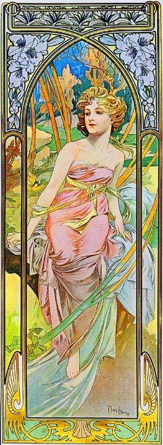 Art Nouveau illustration by Alphonse Mucha. The Times of the Day: Morning Awakening. Art Nouveau Mucha, Alphonse Mucha Art, Art Nouveau Poster, Art And Illustration, Illustrations Posters, Vintage Posters, Vintage Art, Illustrator, Jugendstil Design