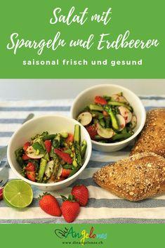 Rezept für Salat mit Spargeln und Erdbeeren - saisonal frisch und fein. Wir liefern euch Ideen, wie ihr jeden Monat mit Gemüse und Früchten aus der Schweiz viele neue Gerichte zaubern könnt. Wie zum Beispiel einen feinen Spargelsalat mit Erdbeeren im Mai, den ihr einfach und schnell für die ganze Familie zubereiten könnt.  #Spargel #Erdbeeren #Salat #LaCucinaAngelone #DieAngelones Different Recipes, Monat, Tacos, Mexican, Beef, Ethnic Recipes, Food, Winter, Healthy Salads