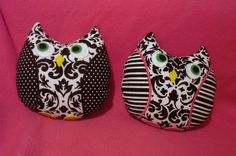 Owl Softie damask black and white custom crafted by MimisWhimsey, $15.00