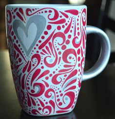 Love love love this mug!  https://www.etsy.com/listing/216312123/patterned-hand-painted-heart-mug-choose