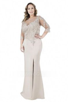 Sheath Column Scoop Neck Floor-length Mother of the Bride Dress With  Appliques Lace Beading. Plus Size ... 141eba0c3c62