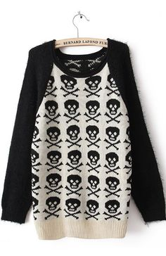 Black Long Sleeve Skull Print Mohair Pullovers Sweater