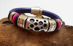 Pumped UP Purple Regaliz leather bracelet by Sheleestudios on Etsy, $35.00