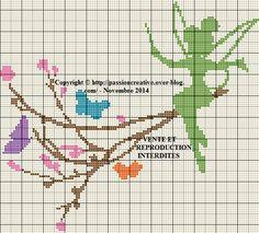 Grille gratuite point de croix : Fée clochette et papillons - Le blog de Isabelle