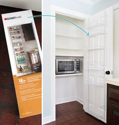 Pantry Makeover   Young House Love … $35 Closet Maid over-the-door organizer… they screwed it directly into the door (using anchors when it didn't hit something solid)