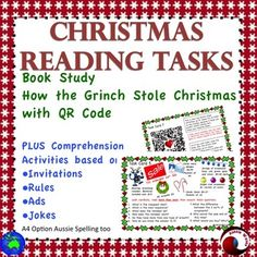 12 individual, illustrated Reading Comprehension Task Cards to use in your Literacy Center. A  Christmas Reading Program for two month at least! Suitable for students Grade 2-4.Print, laminate, no more to do!These tasks are varied,creative and FUN!I think these tasks will encourage students to think deeply and help them make connections between their experiences, knowledge and what they read.