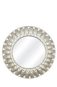 This decorative mirror with tin cut out detail will add interest to a home interior. Mr Price Home, Mirror Wall Art, Round Mirrors, Metal Crafts, Tin, Interior, Fun Ideas, Home Decor, Queen