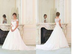 ASDRESS Elegant A-Line Lace Wedding Dress Cap Sleeve Bridal Gown Rose Deb Prom Pageant