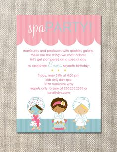 DIY Printable. Salon Spa Party. Birthday Invitation. Customizable. Salon. Spa. Pamper.. $15.00, via Etsy.