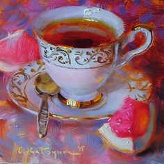 Monday Tea by Elena Katsyura Oil ~ 6 x 6