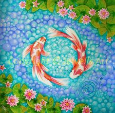 'Koi for Love' in orange and purple is an original acrylic painting for sale by Julia Underwood Koi Fish Drawing, Water Drawing, Fish Drawings, Koi Painting, Acrylic Painting Canvas, Feng Shui, Fish Gallery, Art Gallery, Lotus Art