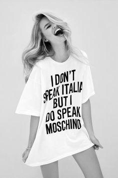 I don't speak Italian but I do speak moschino t shirt Celine, Ysl, Mode Editorials, Fashion Editorials, Christian Dior, Georgia May Jagger, Vogue, Swimwear Cover Ups, Editorial Fashion