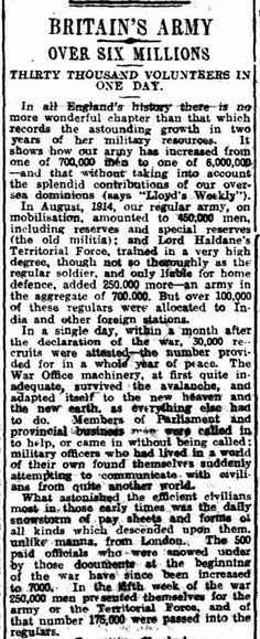"""WWI, 29 Dec 1916; """"Britain's Army increased from 700,000 men to 6,000,000 men"""" - Daily Herald, Adelaide"""