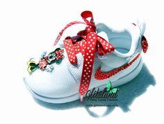 Swarovski Nike Minnie Mouse White Baby / Toddler Roshe Run Shoes Blinged w/ Red Swarovski Crystals