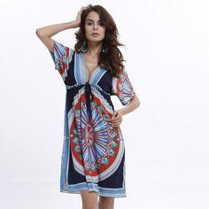 Boho Summer Women Dress Sexy Loose Sundresses Deep V Ethnic Dashiki Print Tunic Beach Dresses Big Size 2XL Woman SunDress Robe