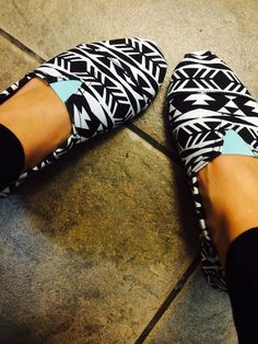 Aztec shoes with aqua blue