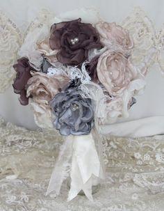 Bridal Fabric Flower Bouquet   Custom by BurlapandBlingStudio, $150.00