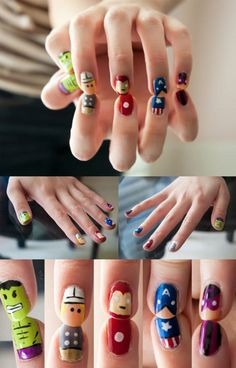 Funny pictures about Gorgeously geeky nail art. Oh, and cool pics about Gorgeously geeky nail art. Also, Gorgeously geeky nail art. Marvel Nails, Avengers Nails, Marvel Avengers, Marvel Heroes, Marvel Characters, Cartoon Characters, Love Nails, How To Do Nails, Pretty Nails