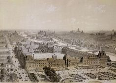 The Finished Louvre and the New Rue de Rivoli, engraved by Philippe Benoist by Chapuis