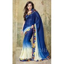 Bollywood Star Neha Sharma Blue Colour Designer Silk Crepe Saree