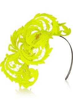 Philip Treacy Neon guipure lace headpiece NET-A-PORTER.COM