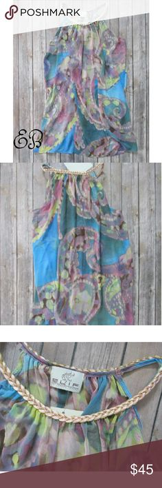 """ELIF Swim Coverup Size L ELIF Swim Coverup Size L  Condition: NWT Type: Swim Cover Up Style:  Tunic Size: L Color: pink blue gold Brand: ELIF for Jordan Taylor Measurement: 44"""" Chest 32"""" Length Materials: 100% Polyester  Country of Manufacter: USA  Closet Note: Tunic is light and airy. A loose fit in the body.   DD 11.2.17 ELIF for Jordan Taylor Swim Coverups"""