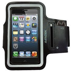 Aaratek Sports Armband With Key Holder * Apple iPhone 5s/5/5c, 4s/4 Smartphones * Flexible, lightweight, deluxe neoprene case * Black with reflective trim * Great for running * Workout in style and comfort to your favorite music * 12 Month Guarantee by Aa