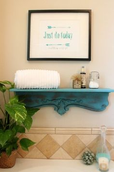 How to make a shelf and paint it with spray chalk paint by Krylon, Repurposed Shelf with Krylon Chalky Spray Paint