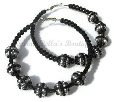 Black and Silver Macrame Beaded Hoops by SarahBellasBoutique, $22.00
