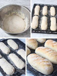 Franska frallor - Lindas Bakskola & Matskola Dairy Free Recipes, Gluten Free, Our Daily Bread, Bread Baking, Hot Dog Buns, Free Food, Bakery, Goodies, Food And Drink