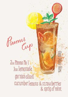 Pimms cocktail alcohol illustration Ohn Mar Win