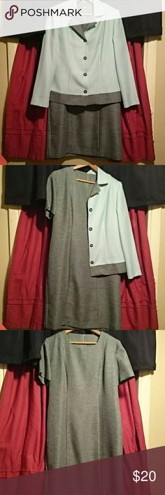 220 Hickory Dress jacket with Dress A sweet baby blue and gray color 6 petite, dress is 36 inches,  waist is 18.. Perfect for spring..Both jacket and dress in great condition..I do not have professional lighting so reflections may appear in photos.. Open to reasonable offers. 220 Hickory Dresses Maxi