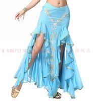 3 unids mujeres de danza del vientre traje de cola de pescado falda danza del vientre bordado bilateral puntas abiertas borde del oro de la falda cadera del paquete 9 color
