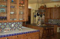 Modern Elegance Kitchen Glass Tile Backsplash Design Idea -CalFinder. I love colorful Mexican tile.