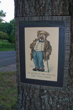 Framed Art Period Cartoon Print Bulldog In by AntiquesandVaria, $126.20