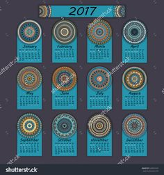 Calendar 2017. Vintage Decorative Colorful Elements. Ornamental Floral Oriental Pattern, Vector Illustration. Islam, Arabic, Indian, Turkish, Pakistan Chinese Ottoman Motifs - 520691629 : Shutterstock