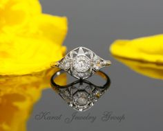 Art Deco Enagegement Ring set with 0.39ct Old Miner Cut Diamond, Antique Diamond Engagement Ring in Platinum with Milgrain, Vintage  Ring…
