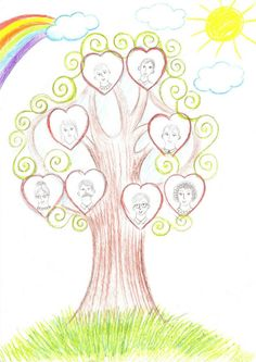 Family Heritage Activities for Kids - Ideas and activities for children to do with family trees Family Tree For Kids, Free Family Tree, Preschool Themes, Craft Activities For Kids, Craft Ideas, Fall Crafts For Kids, Crafts To Do, Mather Day, Family Theme