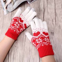 Hot Accessories Touch Screen Magic Gloves Unisex Stretch Male Knitted Gloves Female Mittens For Women Heart Snowflake Gloves
